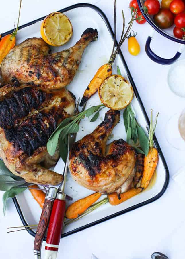 Sage-Scented Barbecued Chicken with Grilled Lemon, by Simple Bites // FoodNouveau.com