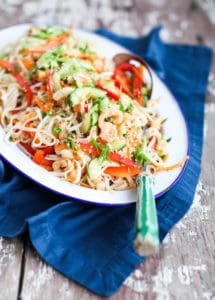 Rainbow Rice Noodle Salad with Shrimp and Sesame, by Simple Bites // FoodNouveau.com