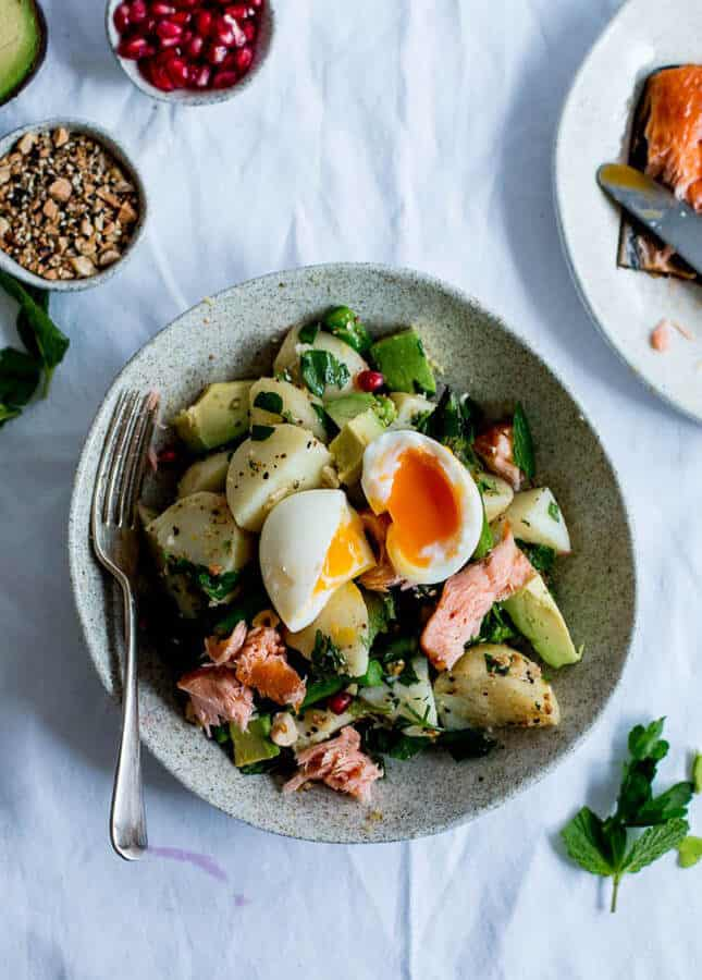 Dukkah, Asparagus & Hot Smoked Salmon Potato Salad, by The Brick Kitchen // FoodNouveau.com