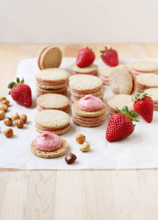 Hazelnut Shortbread Cookies with Roasted Strawberry Buttercream // FoodNouveau.com
