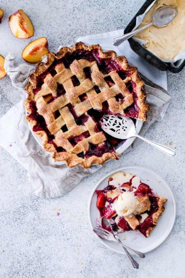 Peach & Blackberry Pie with Olive Oil Gelato, by The Brick Kitchen // FoodNouveau.com