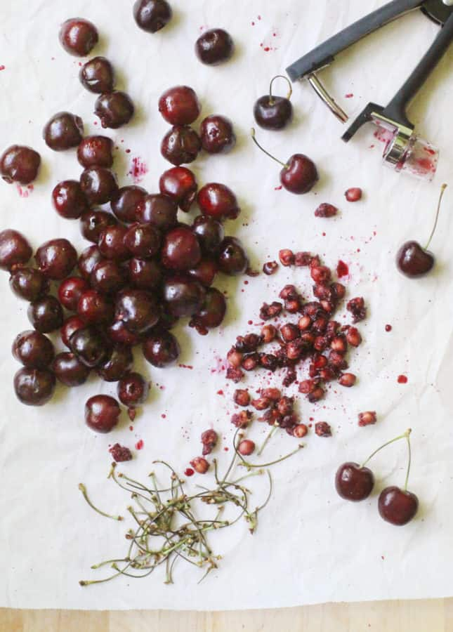 Pitting cherries is easy with a cherry pitter! A kitchen gadget that's worth every penny. // FoodNouveau.com