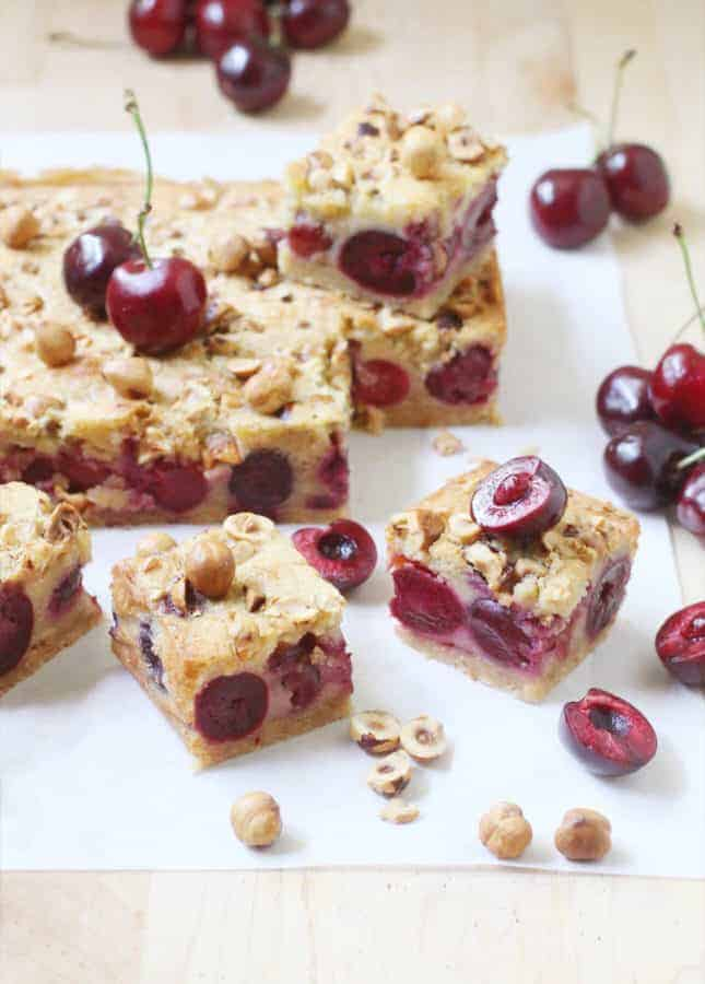 A celebration of all good things about summer, in bar form: Brown Butter, Hazelnut, and Cherry Clafoutis Bars // FoodNouveau.com
