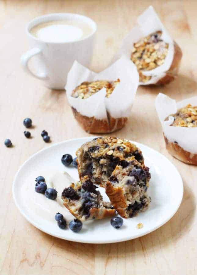 Wholesome Blueberry Banana Muffins // FoodNouveau.com