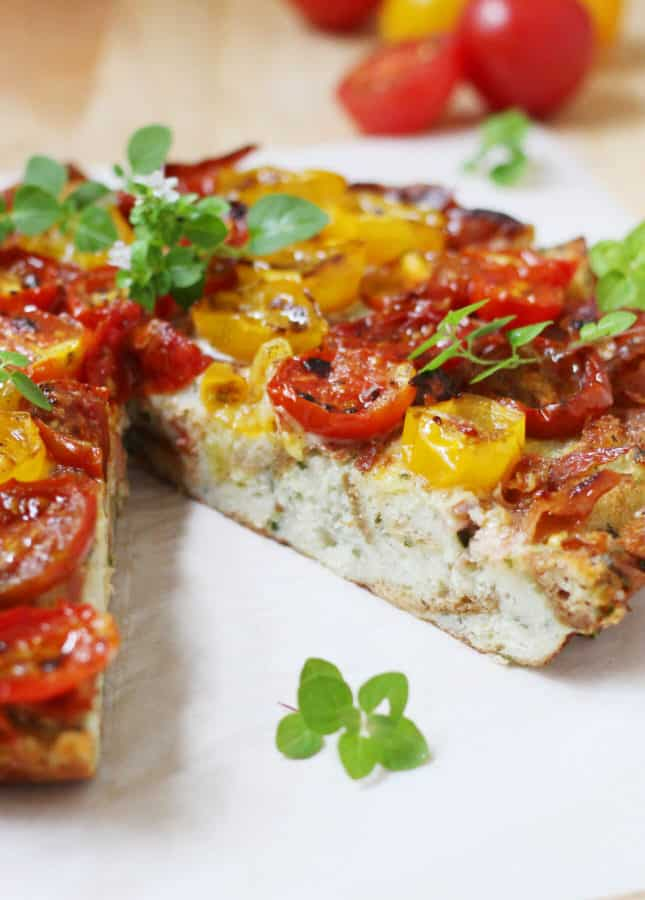 Frittata di Pane (Bread Frittata) with Broiled Cherry Tomatoes and Prosciutto // FoodNouveau.com