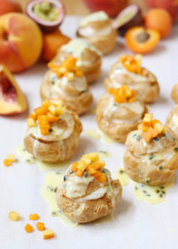 Apricot, Peach, and Passion Fruit Cream Puffs