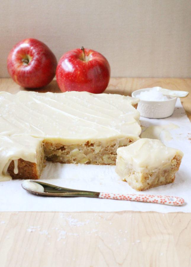 Brown Butter Apple Blondies with Salted Butterscotch Glaze // FoodNouveau.com
