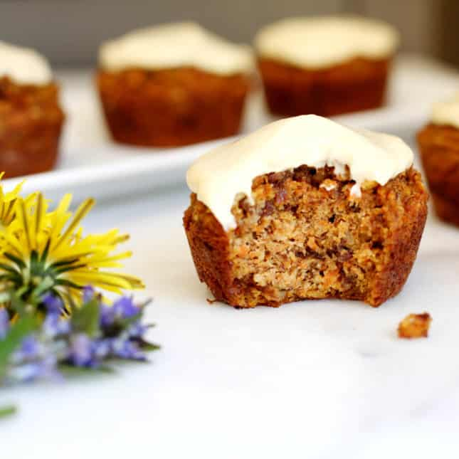 Healthy Carrot Cake Muffins with Maple Cream Cheese Frosting, by From Scratch Fast // FoodNouveau.com