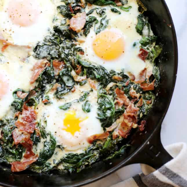 Spinach Baked Eggs, by From Scratch Fast // FoodNouveau.com