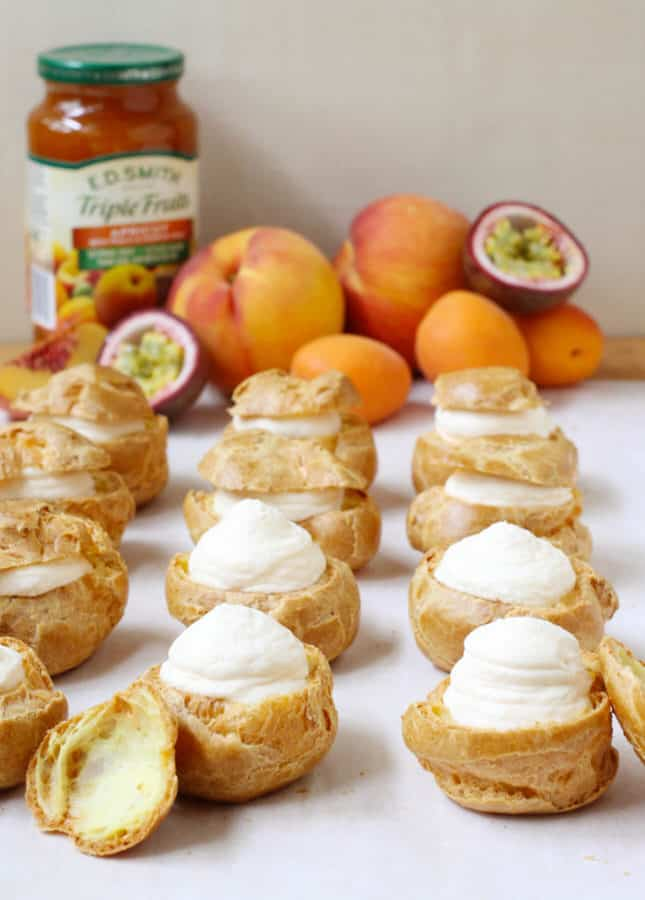 Apricot, Peach, and Passion Fruit Cream Puffs // FoodNouveau.com
