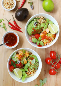 Healthy Salmon Noodle Bowl with Chili-Lime Dressing