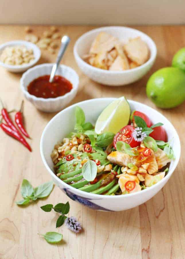 Healthy Salmon Noodle Bowl with Chili-Lime Dressing // FoodNouveau.com