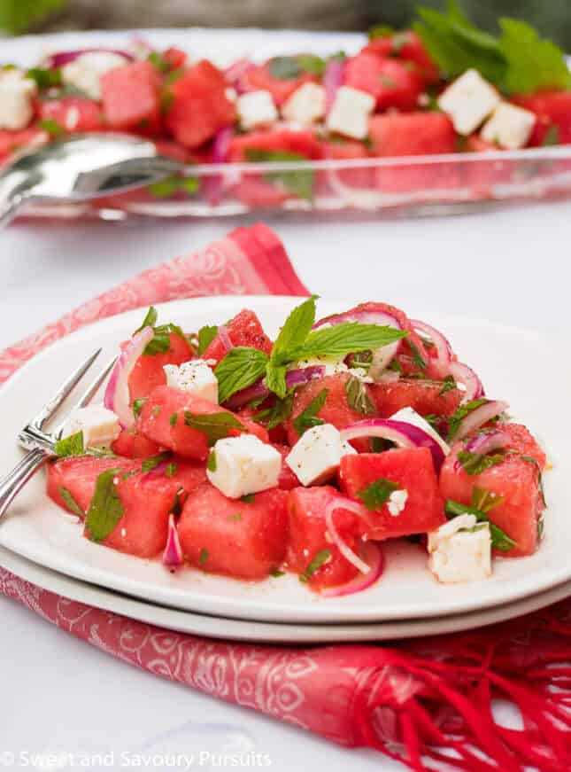 Watermelon and Feta Salad, by Sweet and Savoury Pursuits // FoodNouveau.com