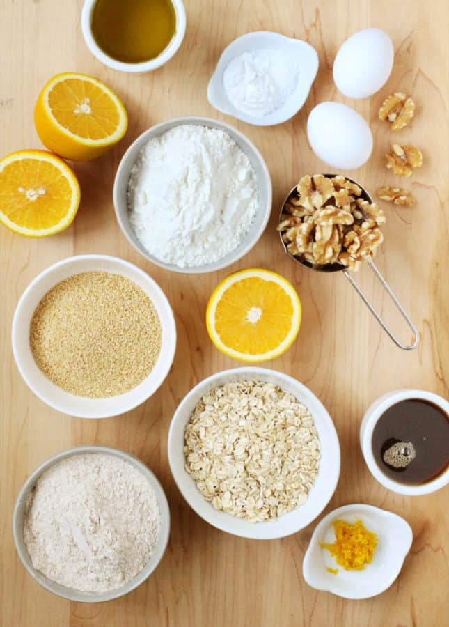 Ingredients to Make Whole Orange and Maple Oatmeal Muffins // FoodNouveau.com