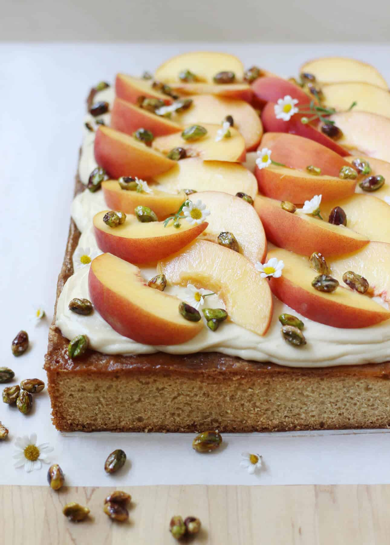 Cardamom Sheet Cake with Salted Caramel Cream Cheese Frosting and Fresh Peaches
