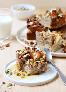 Make-Ahead Granola Breakfast Bread Pudding // FoodNouveau.com