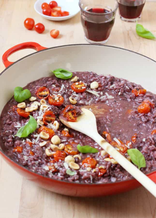 Broiled Cherry Tomato, Sausage, and Red Wine Risotto // FoodNouveau.com