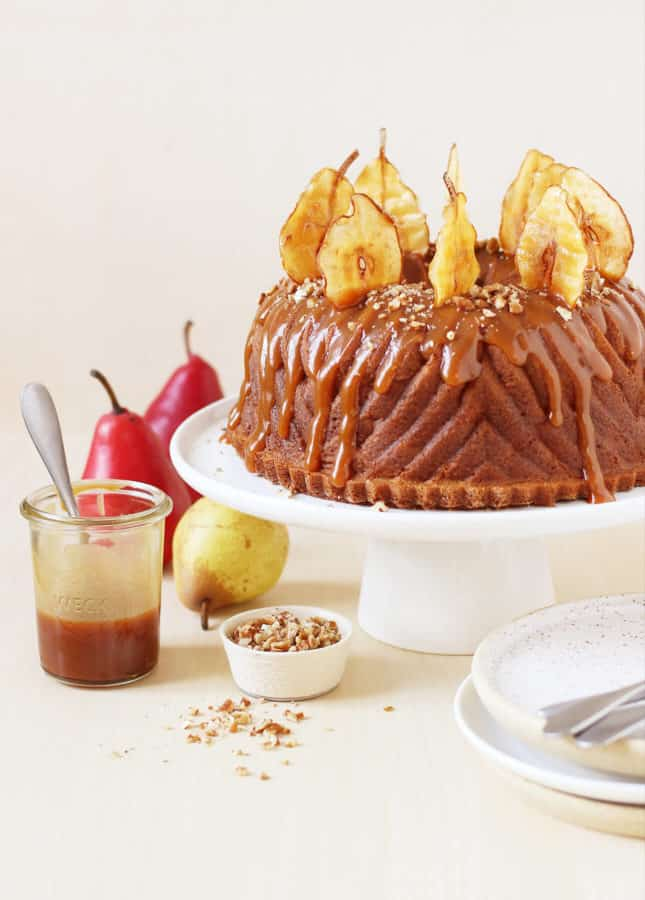 Spiced Pear Bundt Cake with Salted Caramel Sauce // FoodNouveau.com