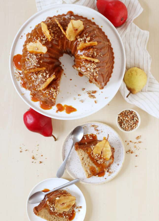 Spiced Pear Bundt Cake with Salted Caramel Sauce // FoodNouveau.com