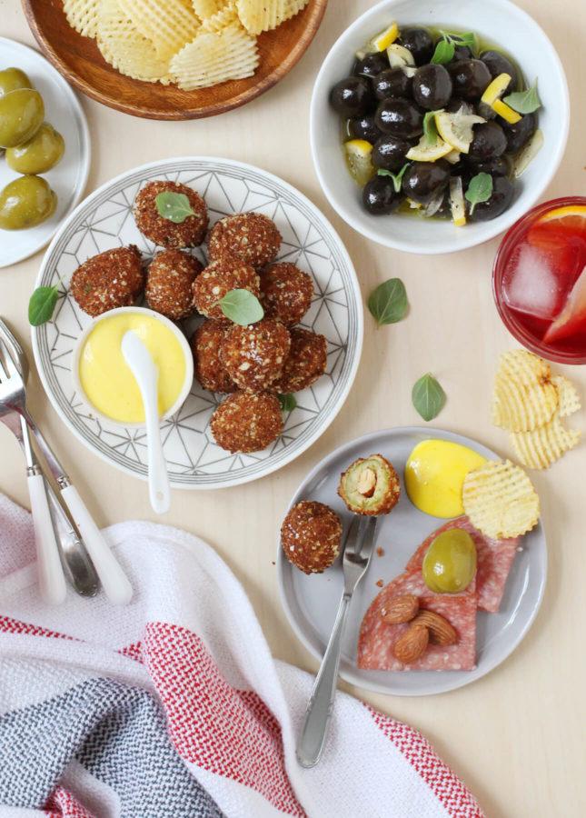 Fried Olives with Saffron Aïoli // FoodNouveau.com