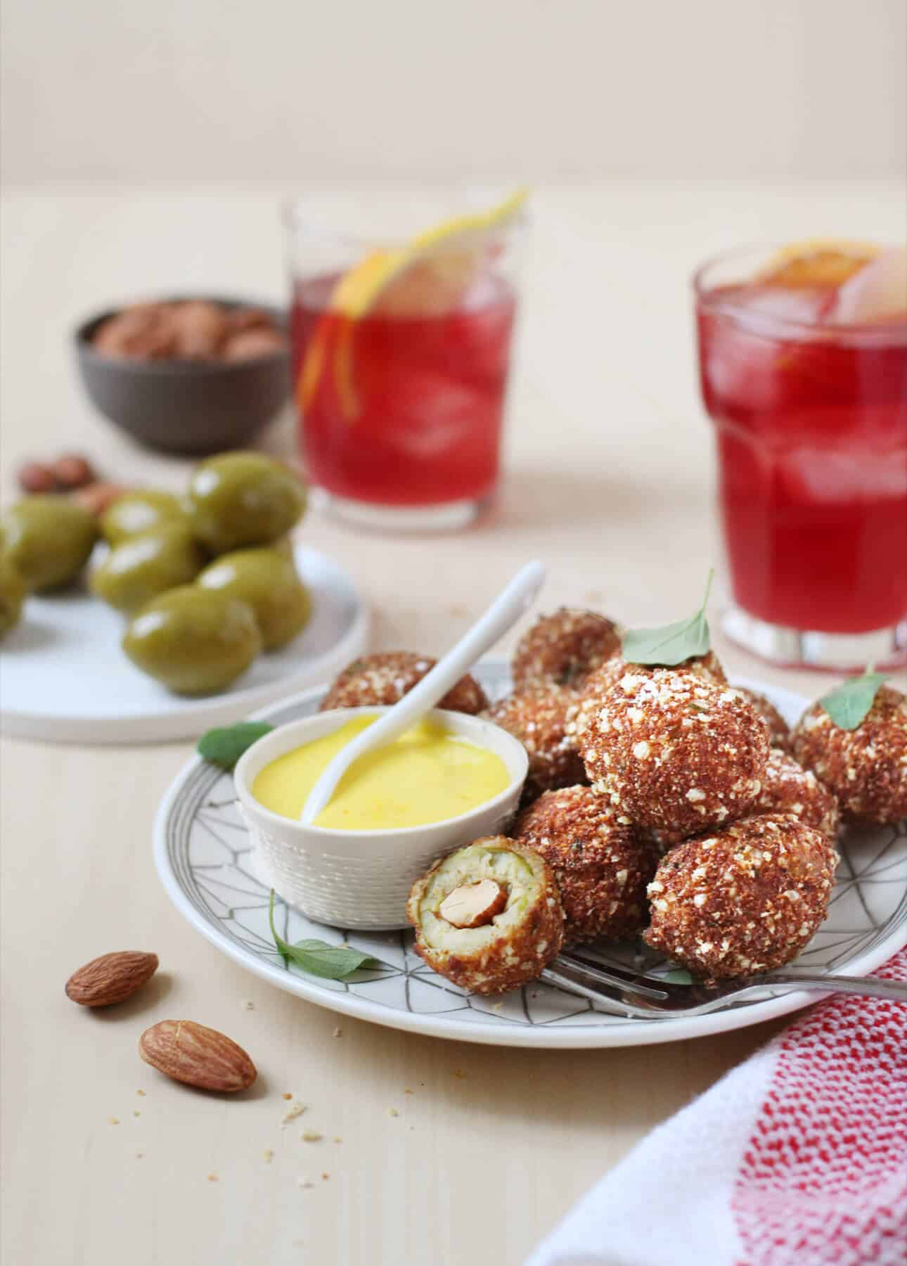 Fried Olives with Saffron Aïoli