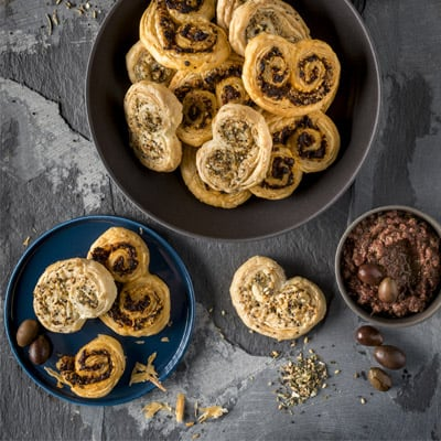 Palmiers, Three Ways, a recipe from the cookbook French Appetizers, by Marie Asselin