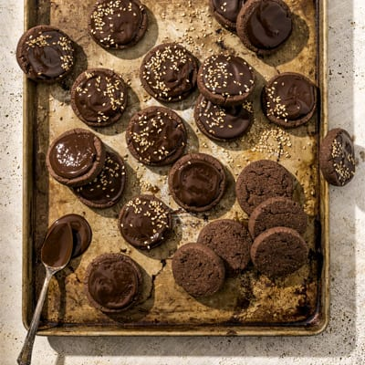 Chocolate and Tahini Sablés, a recipe from the cookbook French Appetizers, by Marie Asselin