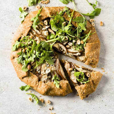 Pear and Blue Cheese Savory Galette, a recipe from the cookbook French Appetizers, by Marie Asselin