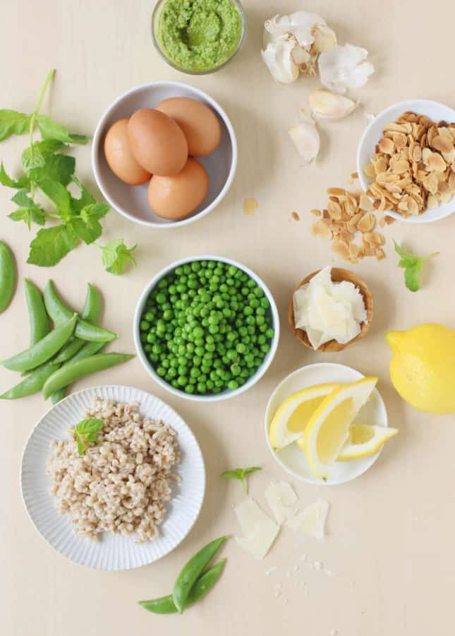 The ingredients to make Sweet Pea Bowls with Soft-Boiled Eggs and Pea Pesto // FoodNouveau.com
