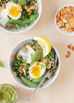 Sweet Pea Bowls with Soft-Boiled Eggs and Pea Pesto, from Build-a-Bowl