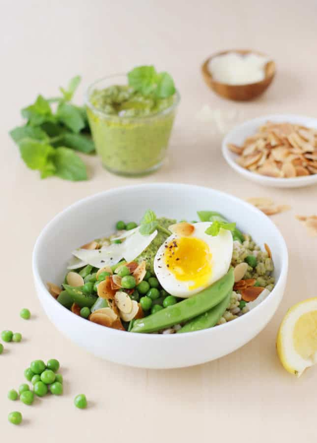 Sweet Pea Bowls with Soft-Boiled Eggs and Pea Pesto, from Build-a-Bowl // FoodNouveau.com