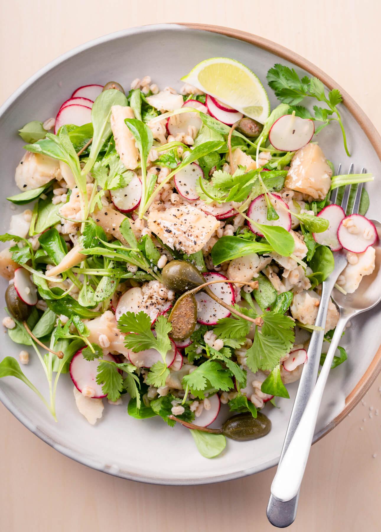 Warm Barley and Cod Salad
