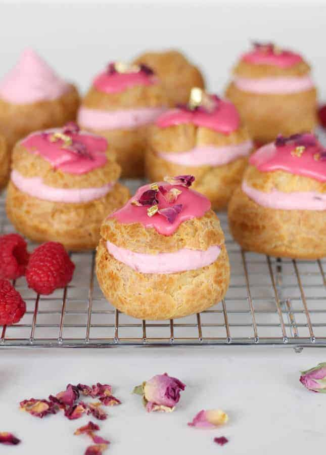Rose Raspberry Fool Cream Puffs // FoodNouveau.com