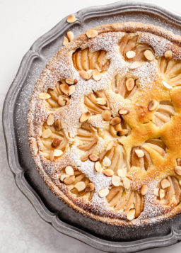 Poached Pear and Almond Tart, from Rustic French Cooking Made Easy