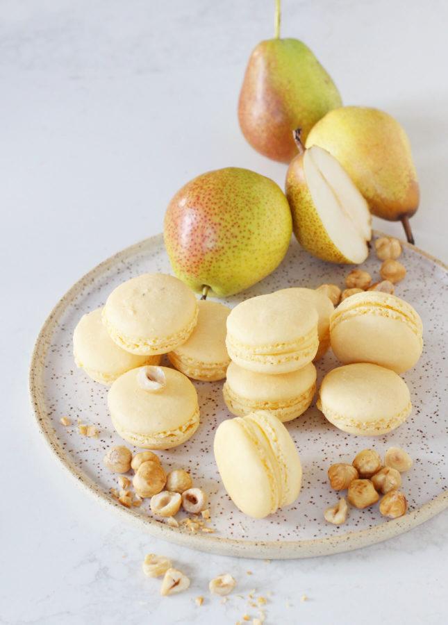 Hazelnut Pear Macarons // FoodNouveau.com