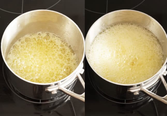 Butter bubbling up during the browning process // FoodNouveau.com
