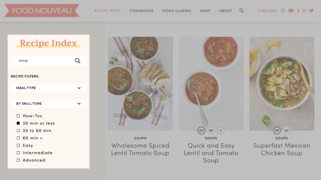 Find recipes tailored to your needs using Food Nouveau's handy Recipe Index